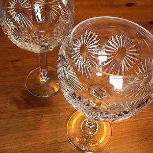 Waterford Pair of Heavy crystal balloon Goblets